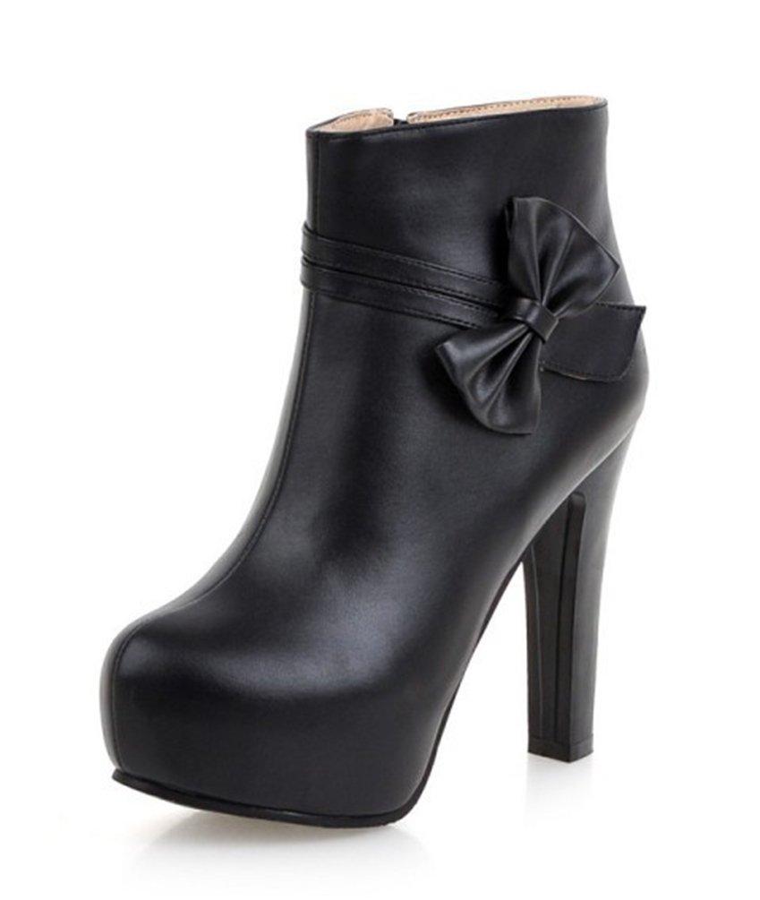 SHOWHOW Damen Süß Schleife High Heels Blockabsatz Kurzschaft Stiefel Schwarz