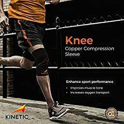 KINETIC Copper Knee Compression Sleeve | Best Recovery Knee Brace, Copper Fit Support for Runners, Sports, Men & Women | Improved Circulation | For Arthritis Relief, Meniscus, Injury Recovery | SINGLE