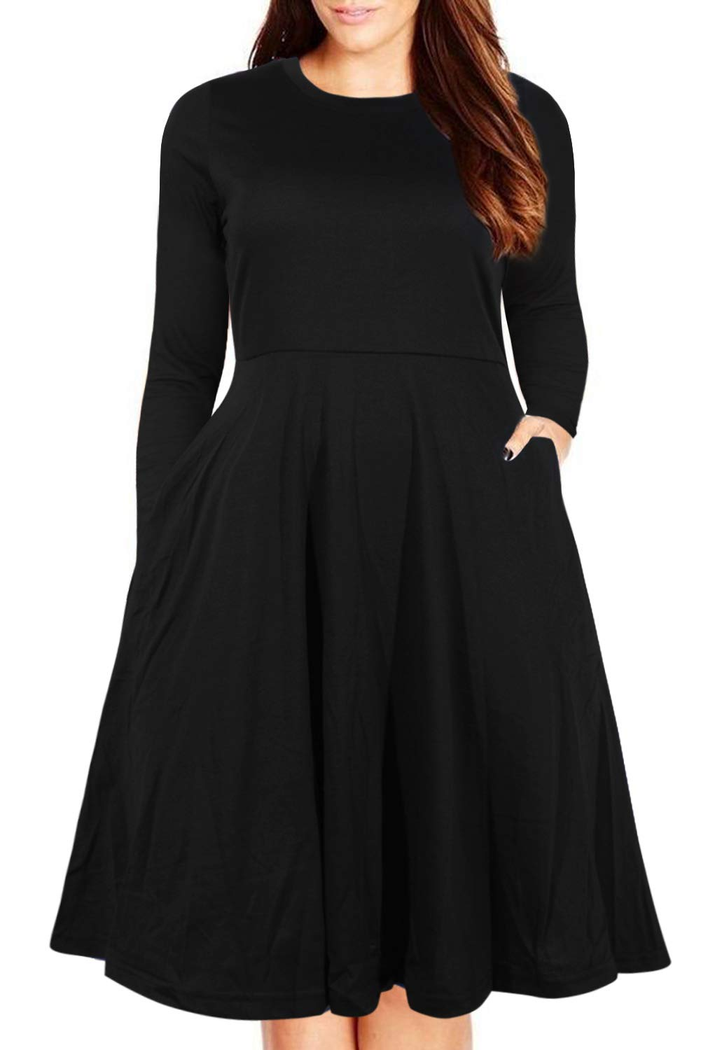 9832072af Nemidor Women's Round Neck Summer Casual Plus Size Fit and Flare Midi Dress  with Pocket. Spread the love. 🔍. Amazon.com ...