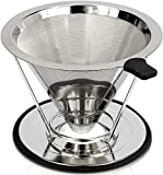 Stainless Steel Pour Over Coffee Dripper With Stand - Pour Over Coffee Maker/Coffee Filter Guarantees Bolder Flavors - Experience The Best Coffee With A Reusable Coffee Dripper Cone