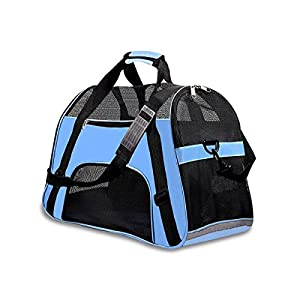 """PPOGOO Pet Travel Carriers Soft Sided Portable Bags Dogs Cats Airline Approved Dog Carrier 19.3"""" L x 9.8"""" W x 12.5"""" H Sky Blue"""