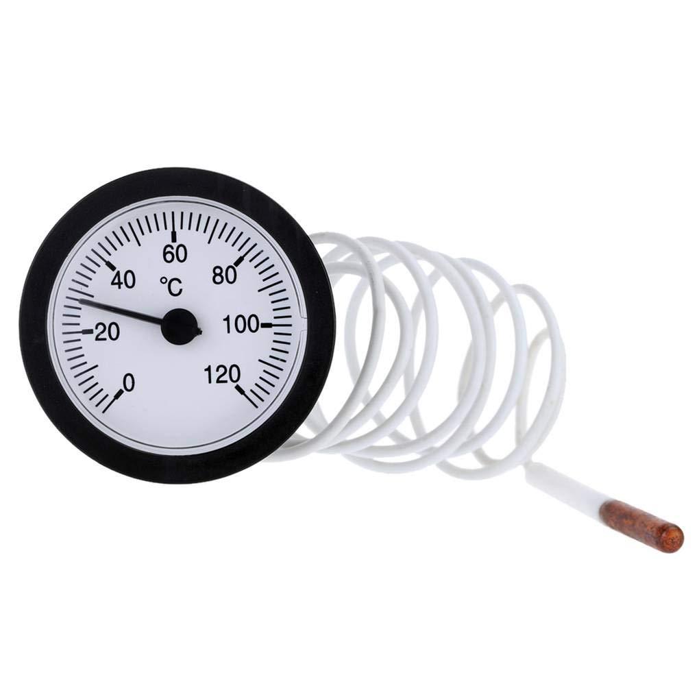 Morza 52 millimetri Dial Termometro capillare Indicatore di Temperatura con 1, 5m sensore 0-120 Gradi centigradi per la misurazione Liquido