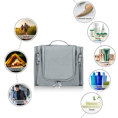 c330e9a164 Hanging Toiletry Bag Travel Cosmetic Kit - Large Essentials Organizer - Sturdy  Hook Makeup bag -