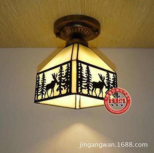 Cttsb ceiling lamp Modern simple creative fashion personalized ceiling light Glass Southeast Asian bronze deer village wrought-iron stained glass living room dining room style A section 4 face down (Four Bronze Cloud Light Blue)