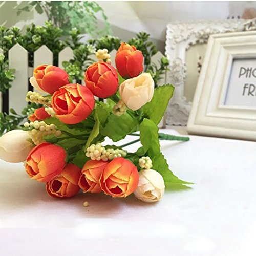 Inverlee 1Pcs Artificial Flowers Silk Leaf Rose Floral Fake Flowers Wedding Bridal Bouquet DIY Home Garden Decor (B)