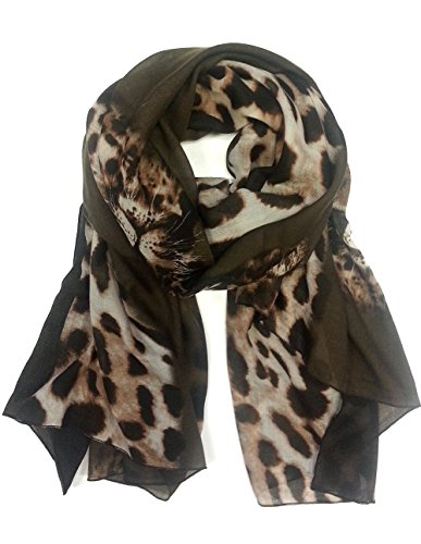 Leopard Print with Tigers Face Printed Scarf (Brown)