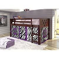 DONCO KIDS Circle Cappuccino Low Loft with Zebra Tent , Twin