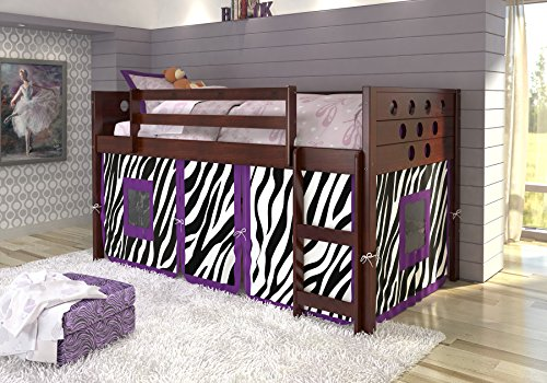 DONCO KIDS Circle Cappuccino Low Loft with Zebra Tent , Twin by Donco Kids