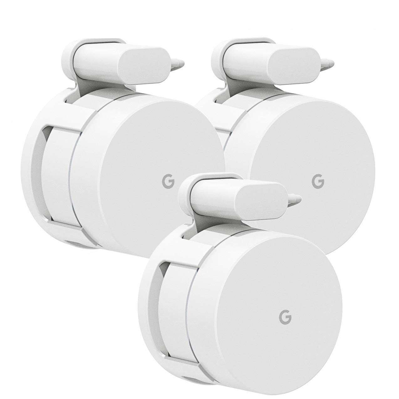 Google WiFi Wall Mount, Mrount Space-saving Outlet Mount Holder Hanger for Google WiFI Router and Google Mesh with Cord Management, No Screws Needed (3 Pack)) by Mrount