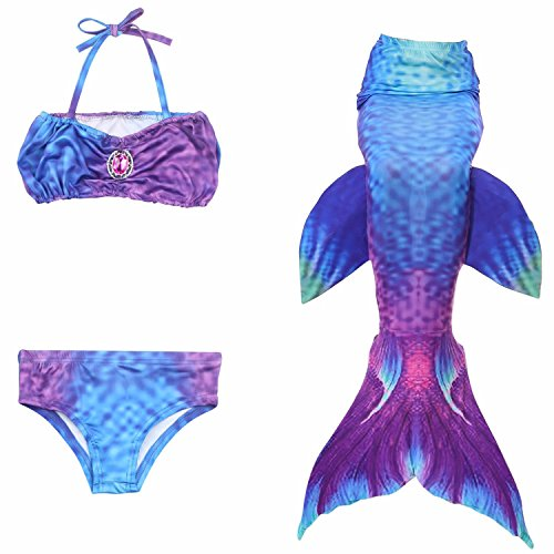Kuisen Swimmable Mermaid Tail + Bikini Sets 3pcs (Monofin Not Included) Kids Girls Cos Gift 007 150CM