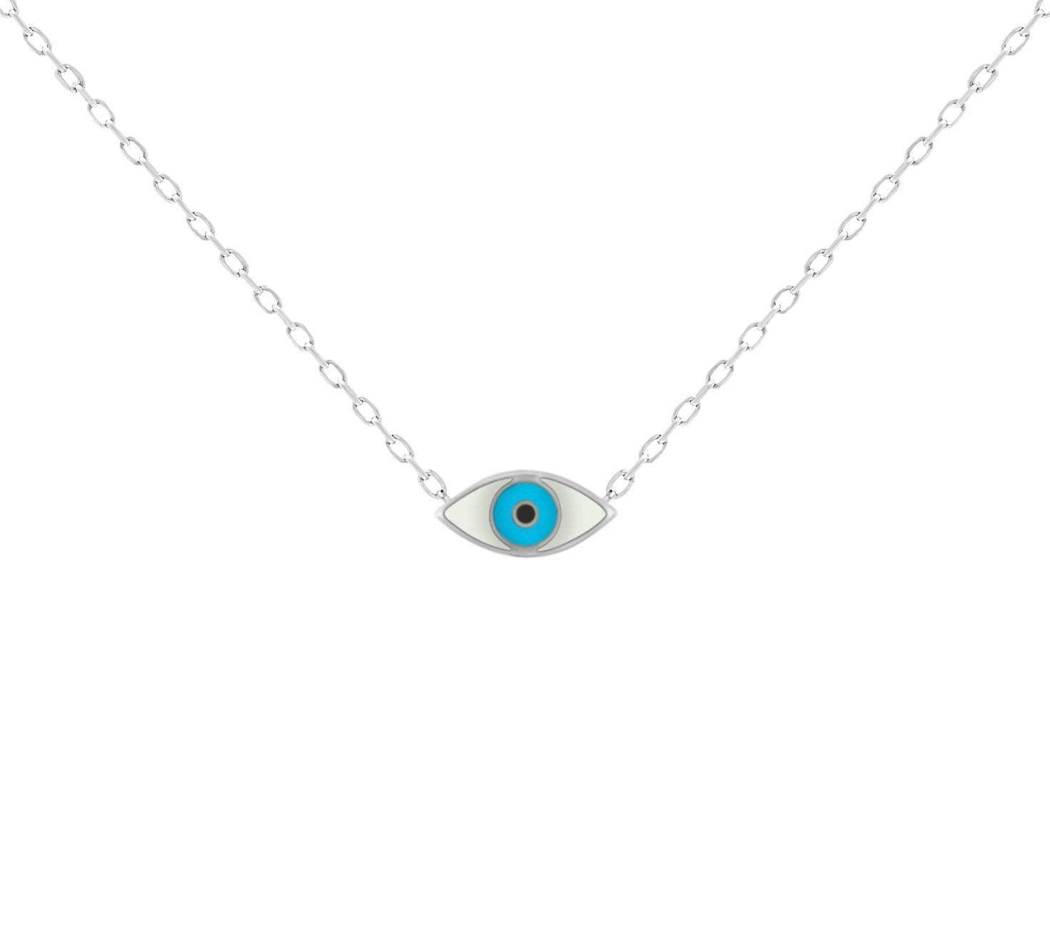 White & Blue Evil Eye Enamel Silver Necklace To Watch Over and Guide You in Life for Women + Girls