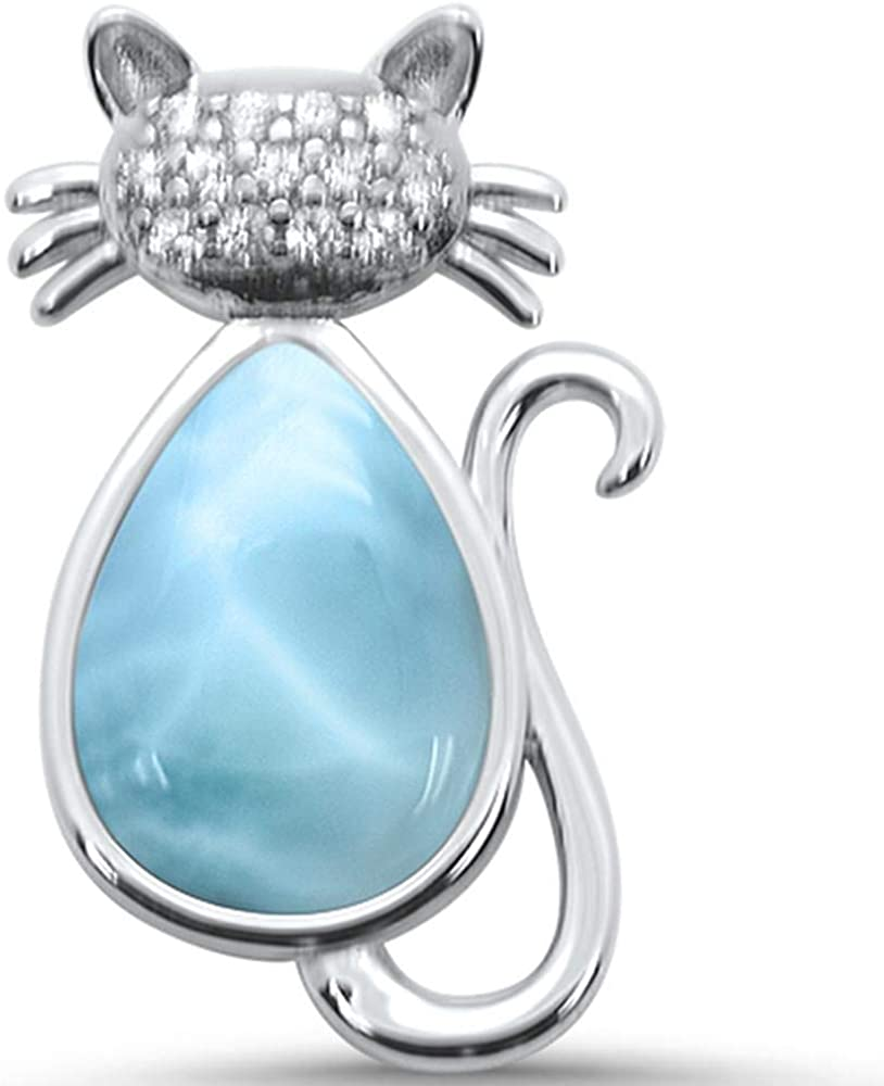 Princess Kylie Natural Larimar Clear Cubic Zirconia Cat Pendant Sterling Silver
