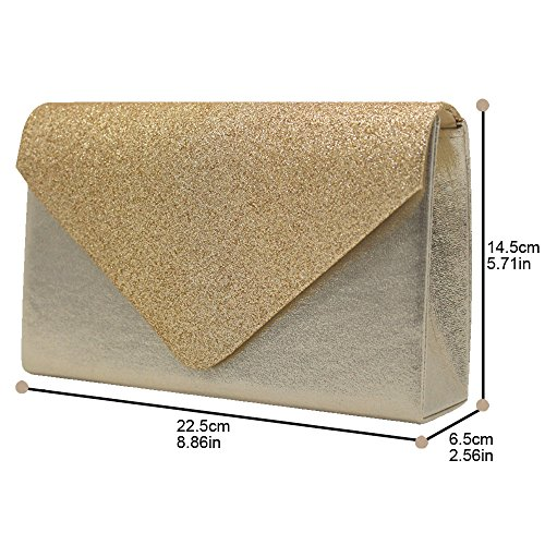 Bridal Prom Glitter Bag Gold Sparkle Evening Gold Wedding Clutch Women Ladies Cckuu Handbag CxY1q0gwW