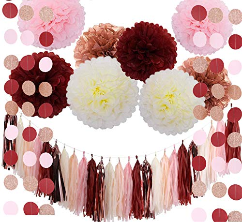 Fonder Mols Bachelorette Party Decorations Burgundy Glitter Rose Gold Blush Pink Ivory Tissue Paper Flowers Tassel Garland Wedding Bridal Shower Maroon Party Decorations (39pcs)]()