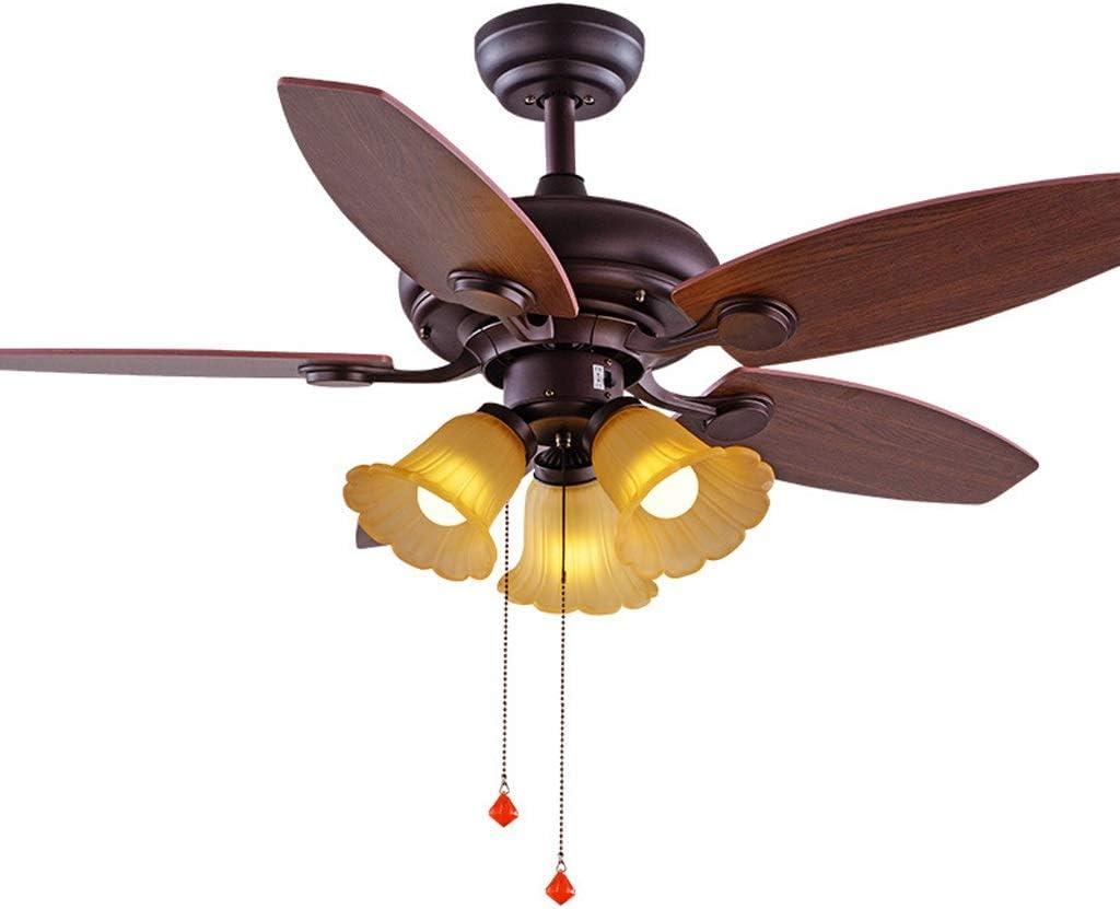QIULAO Luz del ventilador de techo, ventilador de techo retro de 42 pulgadas con lámpara / 5 aspas del ventilador, puerto de lámpara 3 * E27, control remoto con inversor invertido Lámpara de ventilado