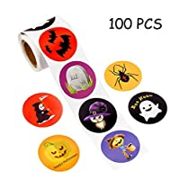 Stickers Labels Roll - Pumpkin Bats Spiders Witch Party Decorations Favors Gifts Supplies