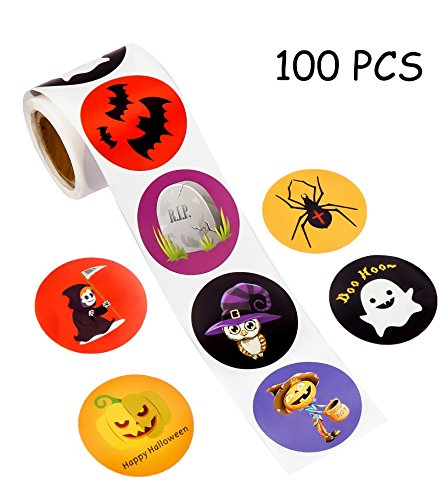 luck sea Halloween Party Favors Stickers for Kids - Pumpkin Bats Spiders Ghost Decorations Gifts Supplies Bag Stuffers -