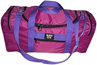 product image for Carry on size weekend bag, Main compartment and two end pockets, Made in USA. (Fuchsia)