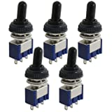 uxcell 5 Pcs AC 125V 6A ON/OFF/ON 3 Position SPDT 3 Pins Toggle Switch with Waterproof Boot