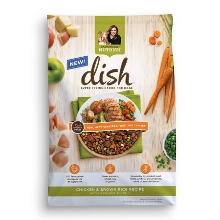 Rachael Ray Nutrish DISH Natural Dry Dog Food, Chicken and Brown Rice Recipe (23 lb, Veggies and Fruit)