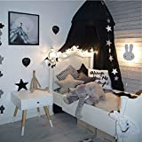 LiCheng Mosquito Net Canopy Cotton Cloth Round Dome,Hanging Bed Canopy Curtains for Twin,Queen &Full Size Bed Black