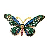 Joji Boutique Large Teal and Royal Blue Crystal Butterfly Pin/Brooch