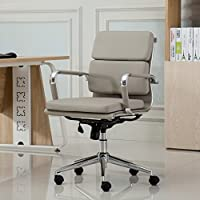 Roundhill Furniture Modica Chromel Contemporary Low Back Office Chair, Taupe