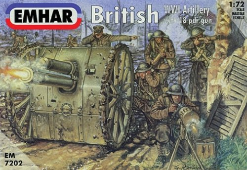 (Emhar Models EM7202 British WWI Artillery Model Building Kit with 18PDR Gun)