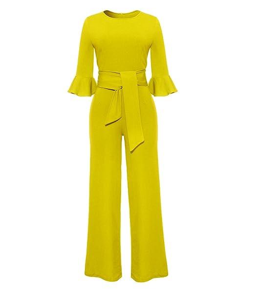 ZKOO Elegante Mono Mujer Ajustados Slim Larga Pantalones Jumpsuit de Fiesta Boda con Cinturón Sexy Clubwear