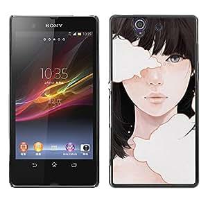 Caucho caso de Shell duro de la cubierta de accesorios de protección BY RAYDREAMMM - Sony Xperia Z L36H C6602 C6603 C6606 C6616 - Deep Meaning Girl Black Hair Emo