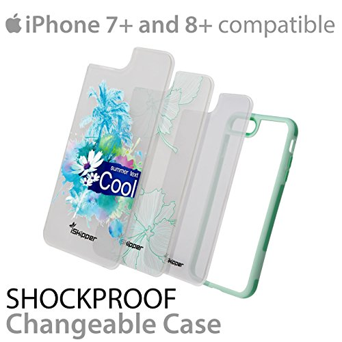 iPhone 8 Plus | 7 Plus Slim Lightweight Bumper Case Cover Shockproof Shatterproof Scratch Resistant Hybrid | Precise Cutouts For Easy Access | 3 Designs Pack - iPhone 7+ & 8+ (Green & Light Green)