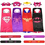 Ecparty 4 Different Superheros Cape and Mask with Wristbands Costumes Set For Girl