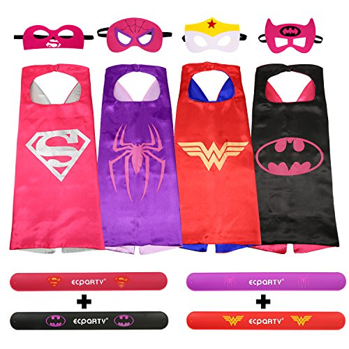 Ecparty Superheros Cape and Mask Costumes Set Matching Wristbands for Girl (4 Pack)