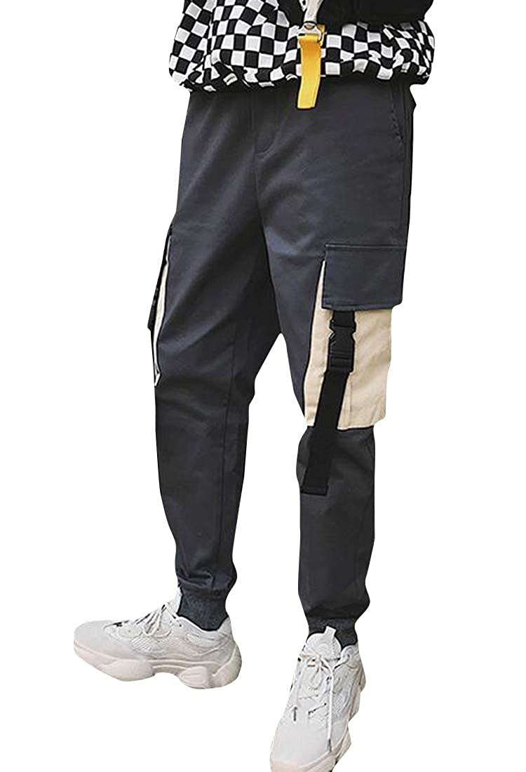 Etecredpow Men Trousers Chic Sport Fit Multi Pockets Jogger Cotton Cargo Pants