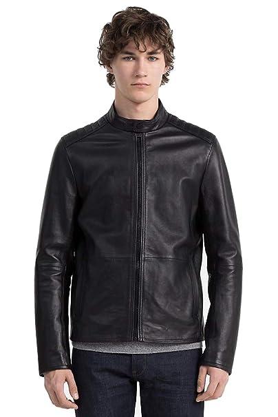 best website 141a0 fe4dc Calvin Klein Giubbotto Biker Uomo in Vera Pelle Nero: Amazon ...