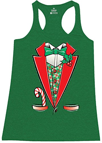 Jingle Bell Rock Costume (Shop4Ever Tuxedo Christmas Costume Women's Racerback Tank Top Xmas Tank Tops Small Heather Kelly Green 0)