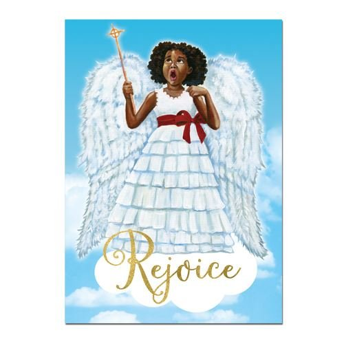 "Search : African American Expressions - Little Angel/Rejoice Boxed Christmas Cards (15 cards, 5"" x 7"") C-929"