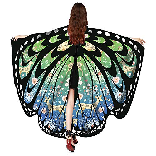 ASfairy Butterfly Wings Shawl Scarves, Women Cape Scarf Fairy Poncho Wrap Pixie Poncho Halloween Costume Accessory (Xmas-GB)