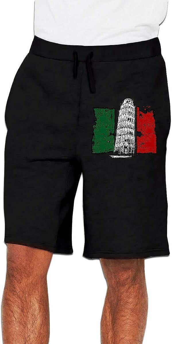 Yecx-1 Mens Tower Italian Flag Jogger Shorts Workout Short