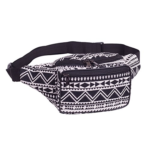 Fanny Pack Stripe 80s Waist Bags, iridescent Woven Tribal Print Waist pack for Travel,Rave Party,Trip,Festival by Purest Heart