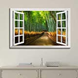 "good looking bamboo wall mural Canvas Wall Art Modern White Window Looking Out Into a Road with Bamboo Trees on the Side Painting on Canvas with Stretched Frame Giclee Print Ready to Hang Home Office Decorations, 16"" x 24"" inches"