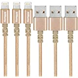 Hiway Nylon Braided USB Cable 3PACK (6FT) Phone Charger Fast Charging Cable Cord Compatible with Phone 8/8 Plus/7/7 Plus/6/6s/6 plus/6s Plus/ 5s/5c, Pad, Pod and More (Gold)