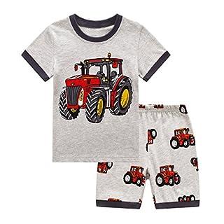 RKOIAN Little Boys Short Pajamas Sets Toddler PJS Cotton Kids Sleepwears (Gray Tractor, 3T)
