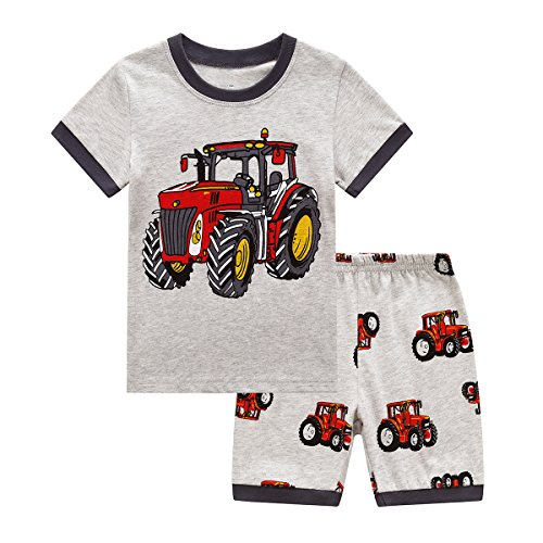 RKOIAN Little Boys Short Pajamas Sets Toddler PJS Cotton Kids Sleepwears (Gray Tractor, -