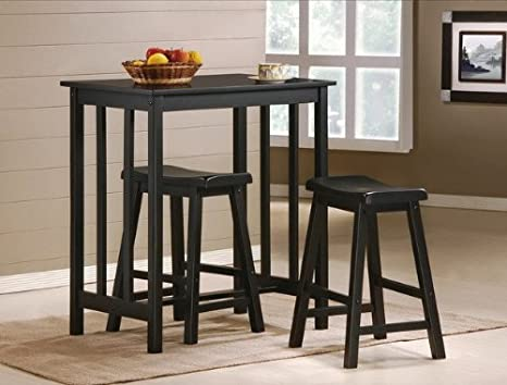 Pleasing 3 Piece Black Finish Table Saddle Bar Stool Set Lamtechconsult Wood Chair Design Ideas Lamtechconsultcom