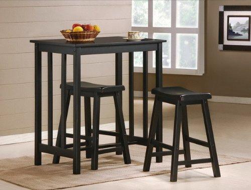 MAN CAVE 3 Piece Black Finish Table & Saddle Bar Stool Set