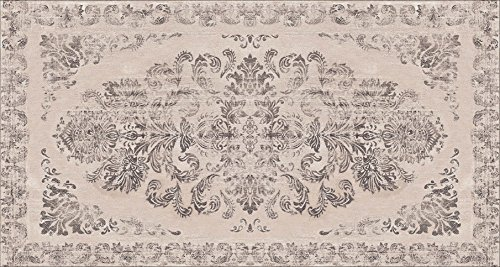 Damask Sisal Rug (Area Rug with Non-skid Rubber Backing, Decorative Modern Carpet for Living, Dining & Children's Rooms, Bedroom Anti-slip Throw Runner for Kitchen, Bathroom, Hallway & Entyr Damask Tan (2'7