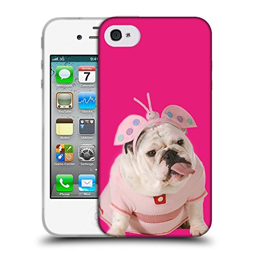 GoGoMobile Coque de Protection TPU Silicone Case pour // Q05800616 Bulldog anglais Bright Pink // Apple iPhone 4 4S 4G