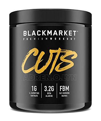 BLACKMARKET AdreNOlyn CUTS Pre Workout, Blue Razz, 30 Servings, 240g For Sale