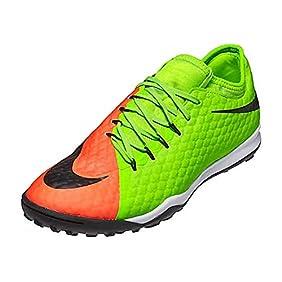 Nike Men's HyperVenomX Finale II TF Turf Soccer Shoes (Electric Green, Hyper Orange)